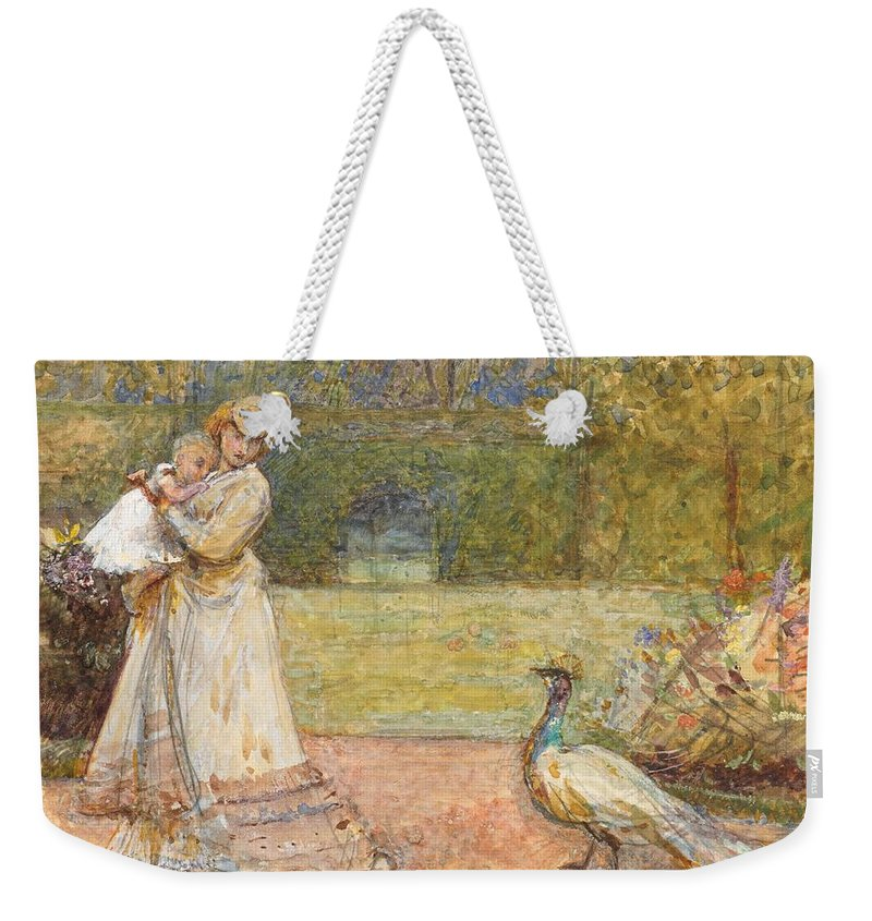 Outdoors; Garden; Park; Female; Walking; Baby; Child; Infant; Peacock; Bird; Victorian Weekender Tote Bag featuring the painting Lady And A Peacock by George John Pinwell