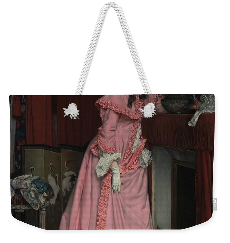 Fireplace Weekender Tote Bag featuring the painting Lady At The Fireplace  by Mountain Dreams
