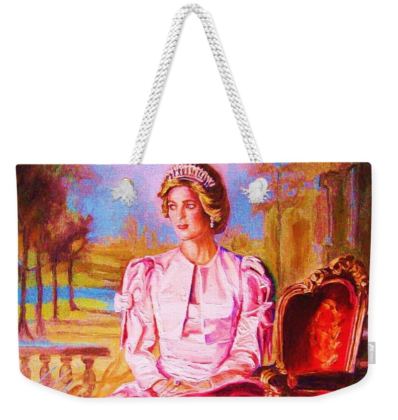 Princess Diana Weekender Tote Bag featuring the painting Lady Diana Our Princess by Carole Spandau