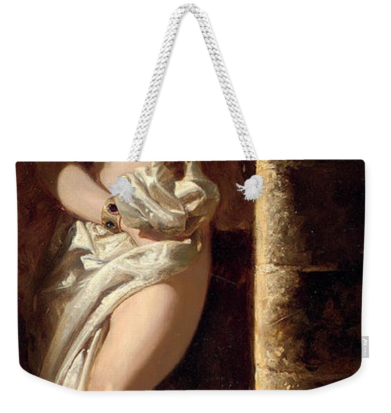 Nude Weekender Tote Bag featuring the painting Lady Godiva by Edward Henry Corbould