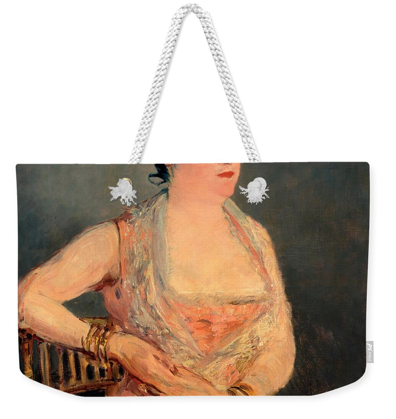 Manet Weekender Tote Bag featuring the painting Lady In Pink by Edouard Manet
