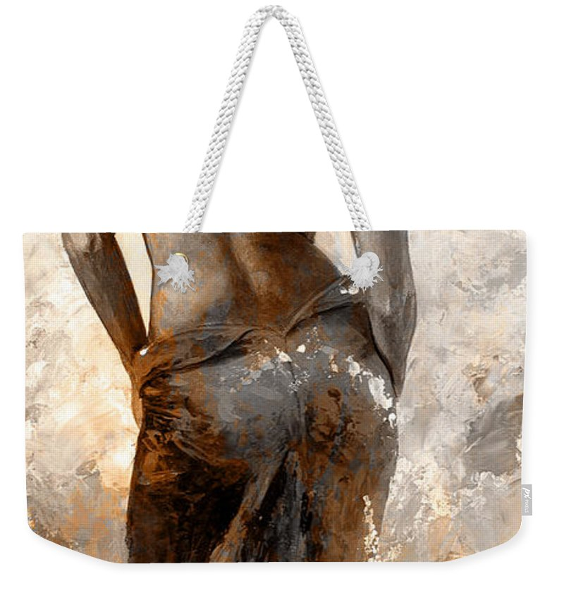 Nude Weekender Tote Bag featuring the painting Lady In Red #27 Digital Colored Rust by Emerico Imre Toth