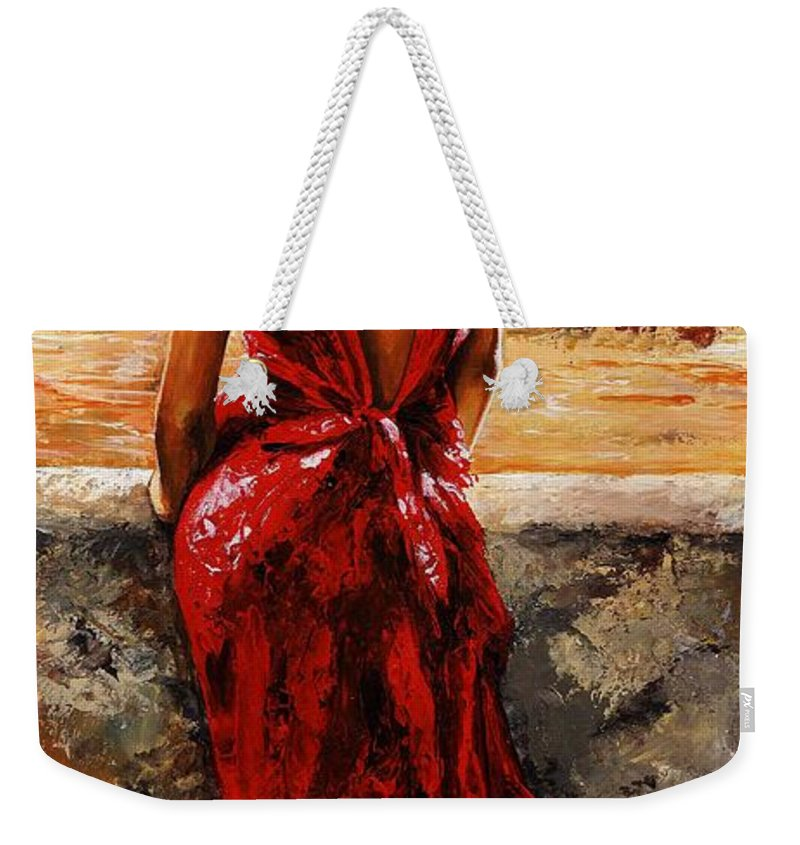 Lady Weekender Tote Bag featuring the painting Lady In Red 34 - I Love Budapest by Emerico Imre Toth