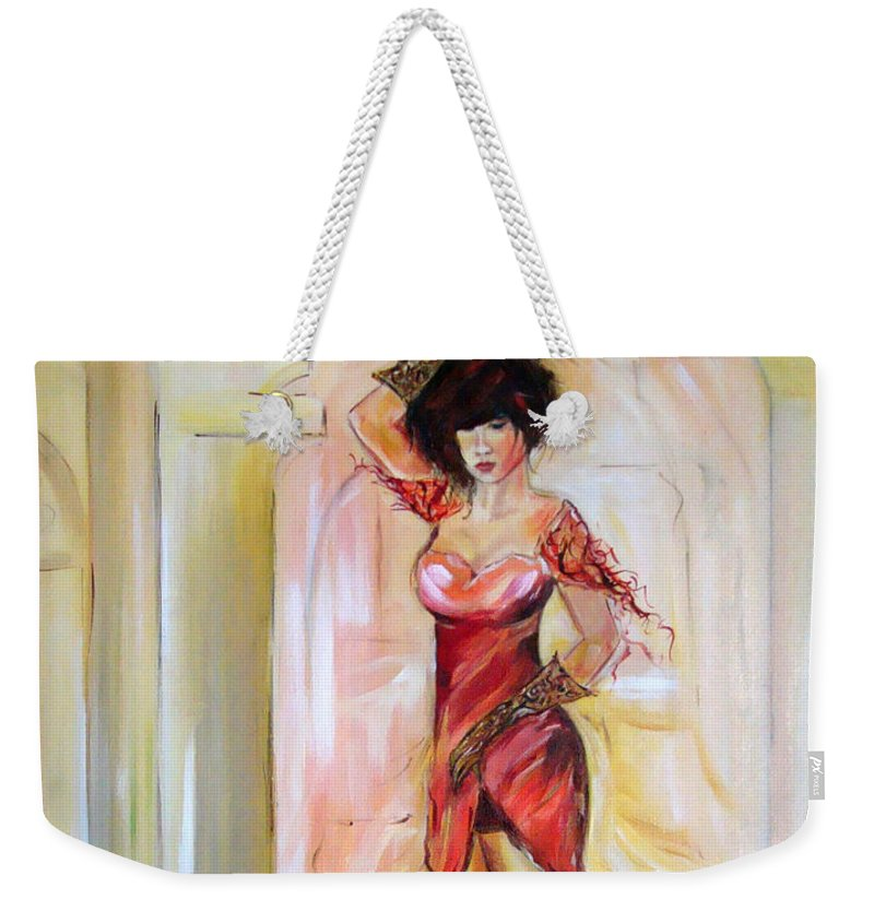 Contemporary Art Weekender Tote Bag featuring the painting Lady In Red by Silvana Abel