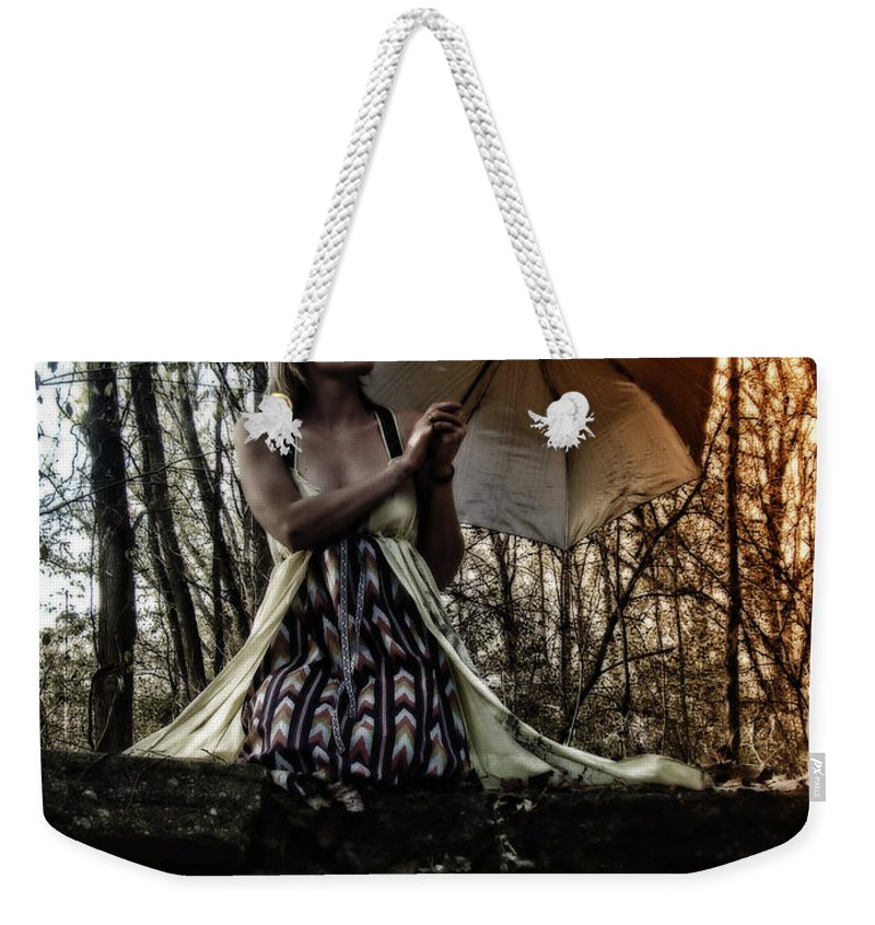 Bridges Weekender Tote Bag featuring the photograph Lady Rain by Kristie Bonnewell