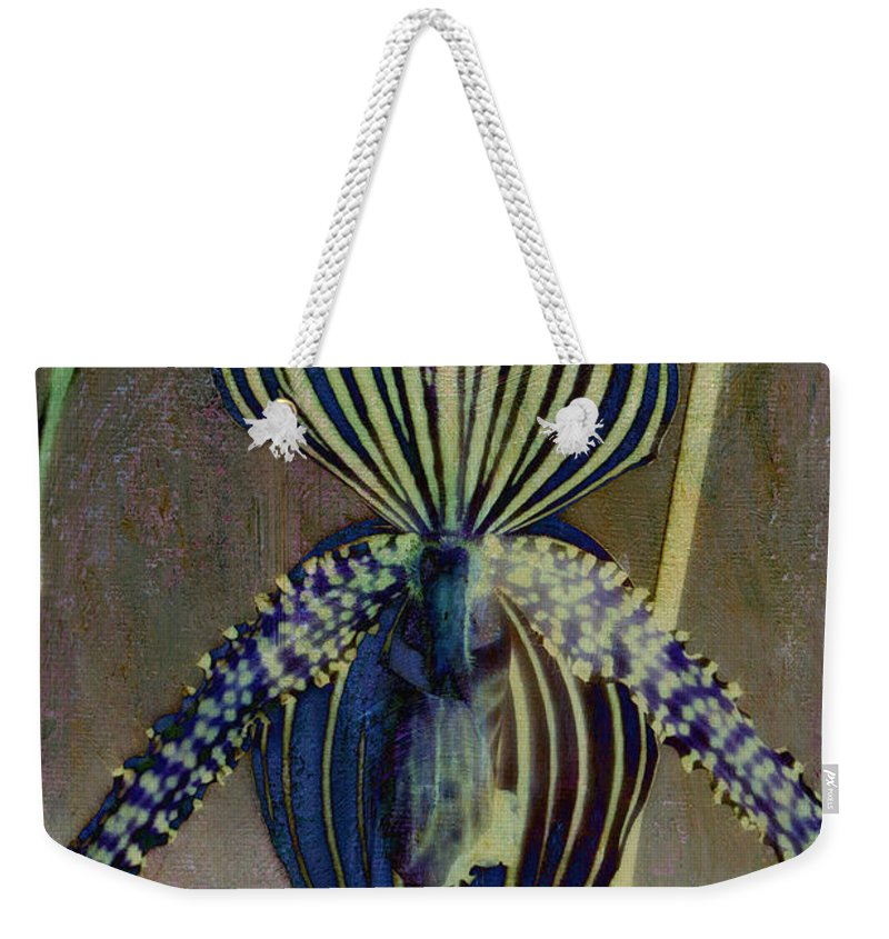 Botanicals Weekender Tote Bag featuring the photograph Lady Slipper Secret Garden by Linda Dunn
