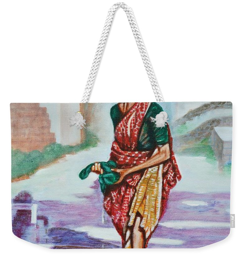 Lady Weekender Tote Bag featuring the painting Lady Washing Clothes by Usha Shantharam