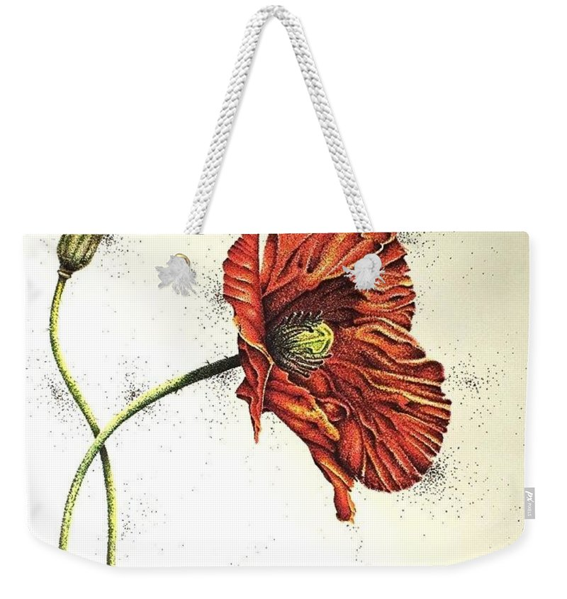 Poppies Weekender Tote Bag featuring the drawing Lady Yee by Katharina Filus