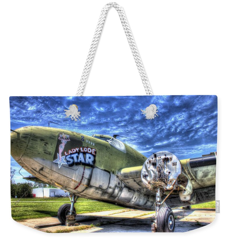 Airplane Weekender Tote Bag featuring the photograph Lady Lode Star by Shannon Louder