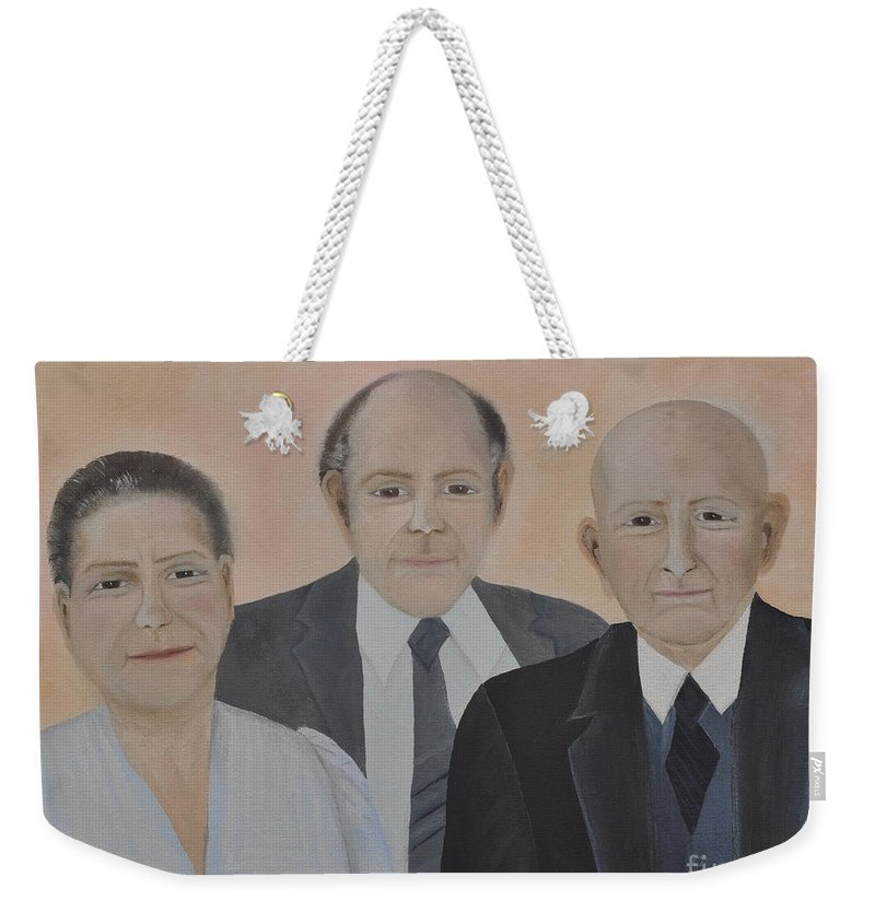 Lahoud Family Weekender Tote Bag featuring the painting Lahoud Family by Sally Rice