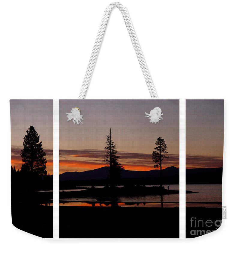Lake Almanor Weekender Tote Bag featuring the digital art Lake Almanor Sunset Triptych by Peter Piatt