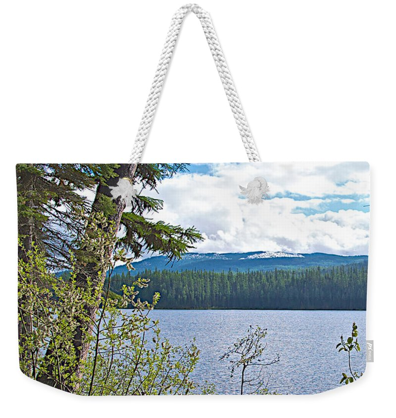 Lake Alva From National Forest Campground Site Along Klondike Highway Weekender Tote Bag featuring the photograph Lake Alva From National Forest Campground Site-yt by Ruth Hager