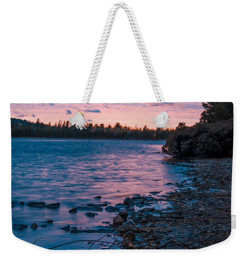 Sunset Weekender Tote Bag featuring the photograph Lake Bailey Sunset by Optical Playground By MP Ray