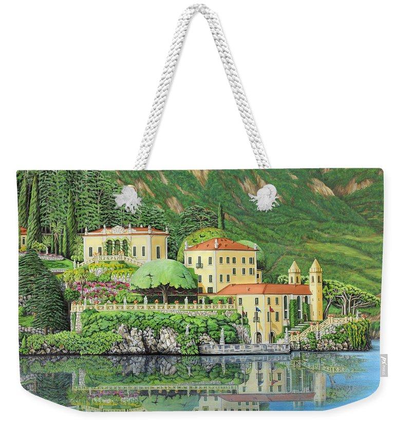 Lake Weekender Tote Bag featuring the painting Lake Como Morning by Jane Girardot