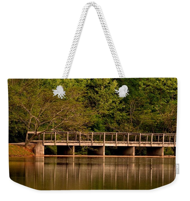 Lake Forest Bridge Weekender Tote Bag featuring the photograph Lake Forest Bridge by Maria Urso