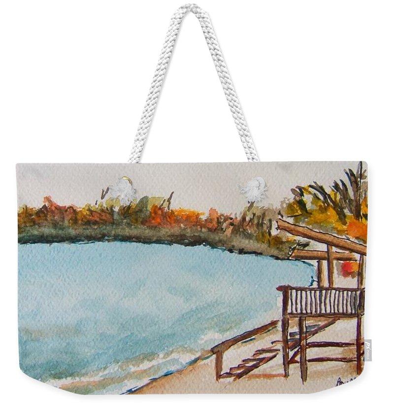 Lake Geneva Weekender Tote Bag featuring the painting Lake Geneva Shoreline by Elaine Duras