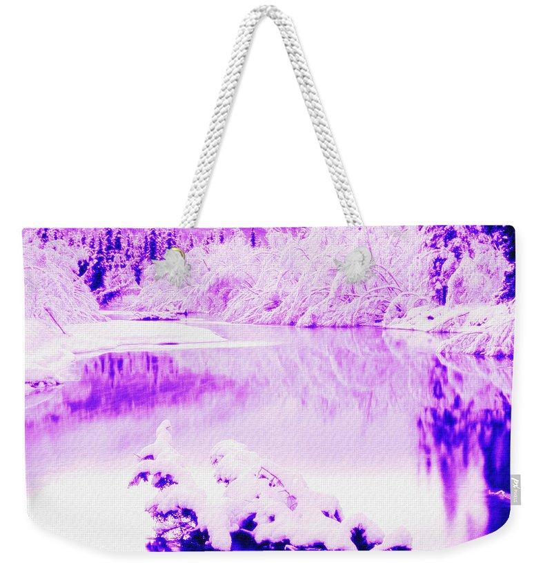 Waterfall Weekender Tote Bag featuring the digital art Lake And Ice by Lyriel Lyra