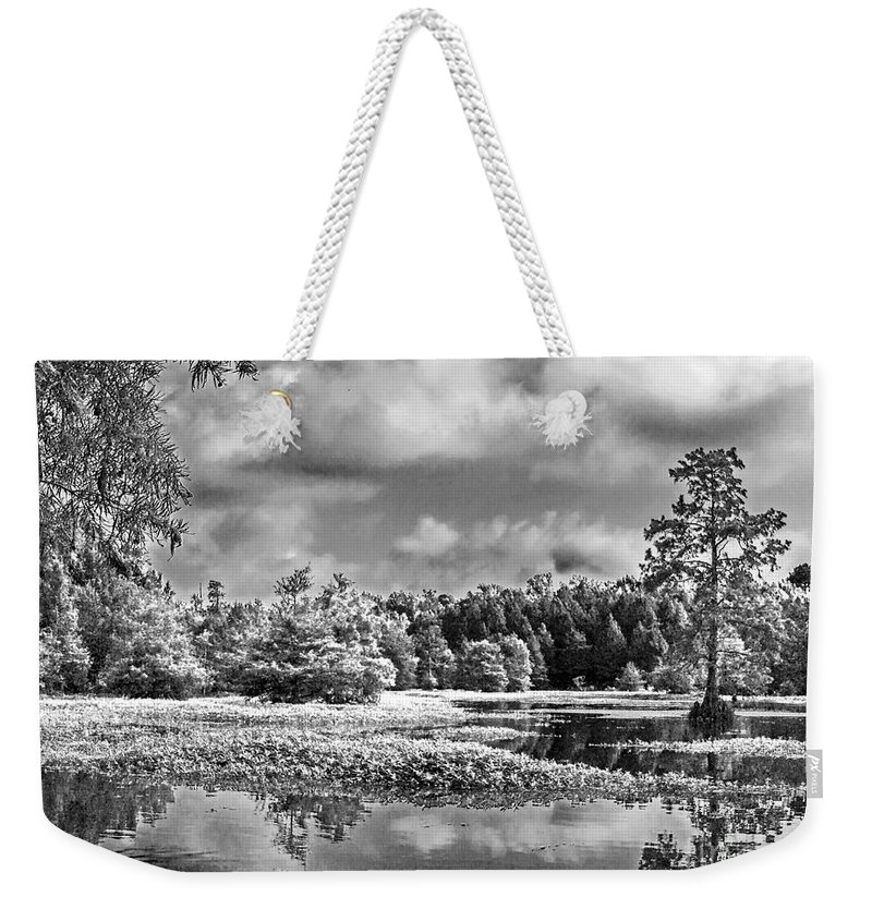 Vernon Lake Weekender Tote Bag featuring the photograph Lake In Black And White Two by Ken Frischkorn