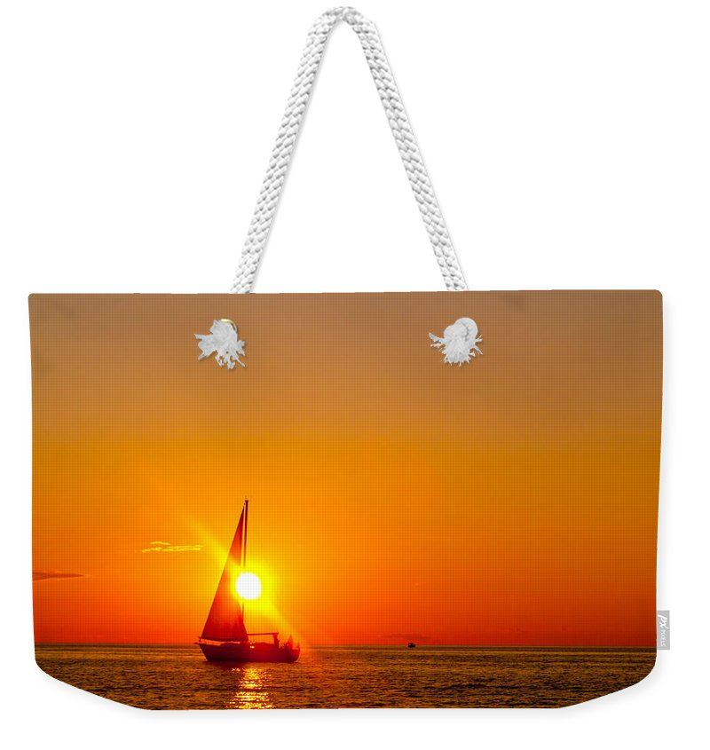 Lake Michigan Weekender Tote Bag featuring the photograph Lake Michigan Sunset by Bill Gallagher