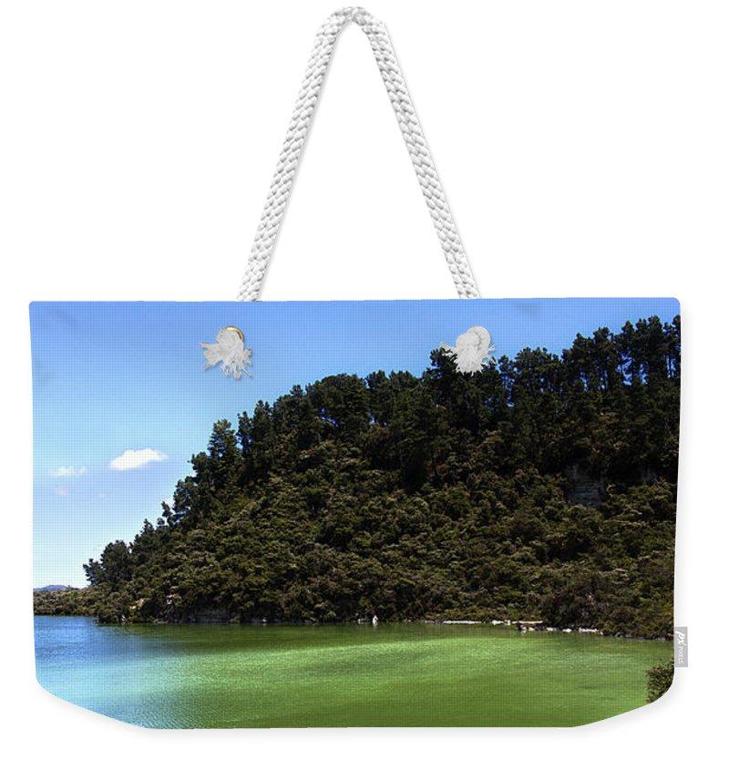 New Zealand Weekender Tote Bag featuring the photograph Lake Ngakoro Rotorua New Zealand by Peter Lloyd