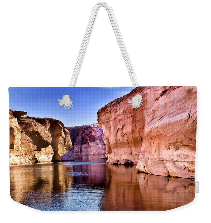 Lake Powell Utah Weekender Tote Bag featuring the photograph Lake Powell Antelope Canyon by Jon Berghoff