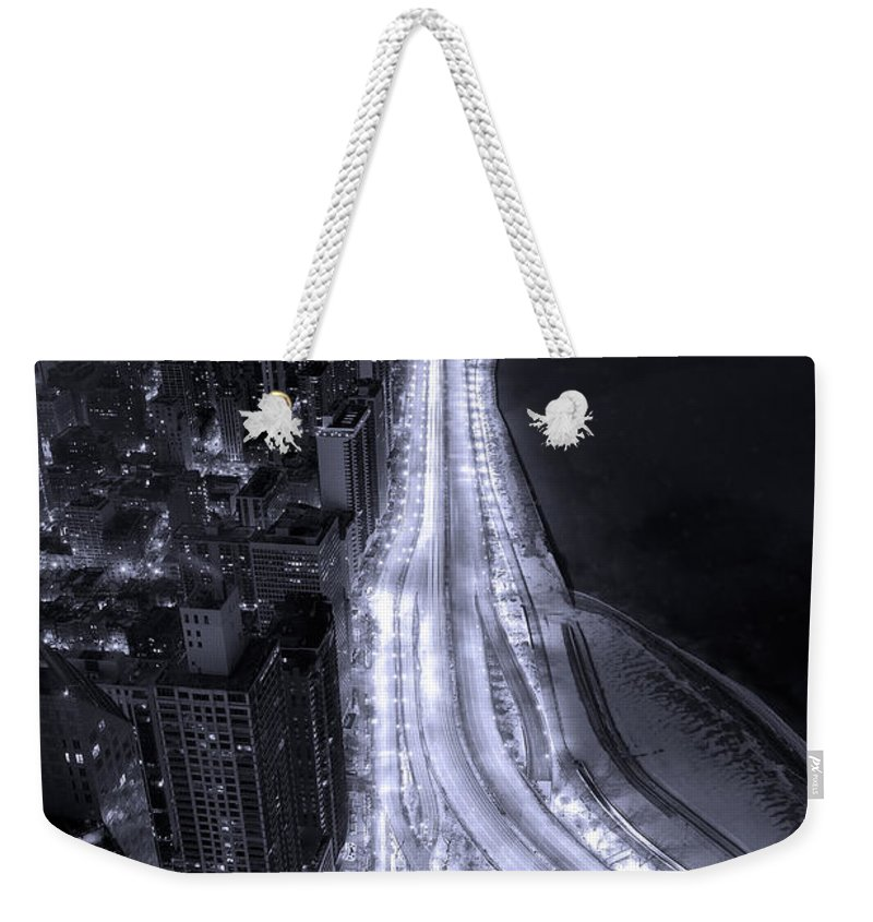 Beach Weekender Tote Bag featuring the photograph Lake Shore Drive Aerial B And W by Steve Gadomski