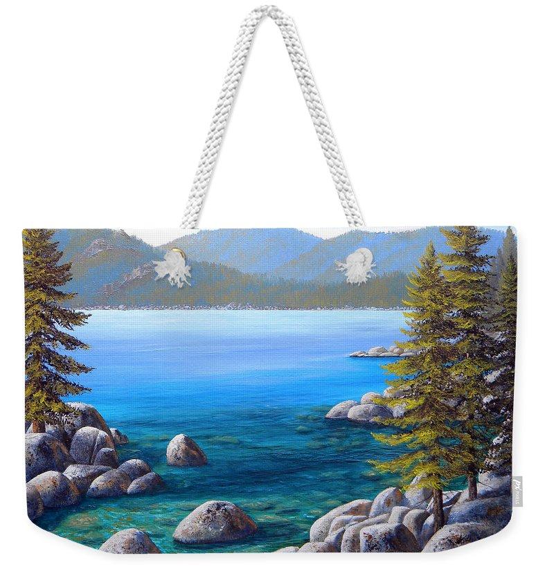 Lake Tahoe Weekender Tote Bag featuring the painting Lake Tahoe Inlet by Frank Wilson
