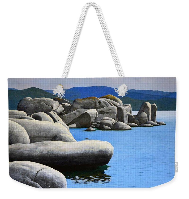 Lake Tahoe Rocky Cove Weekender Tote Bag featuring the painting Lake Tahoe Rocky Cove by Frank Wilson
