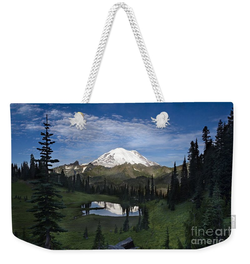Mountain Weekender Tote Bag featuring the photograph Lake Tipsoo Reflections by Mike Reid