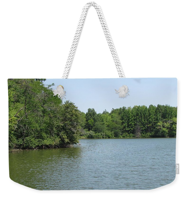 Lake Weekender Tote Bag featuring the photograph Lake View by Eric Noa