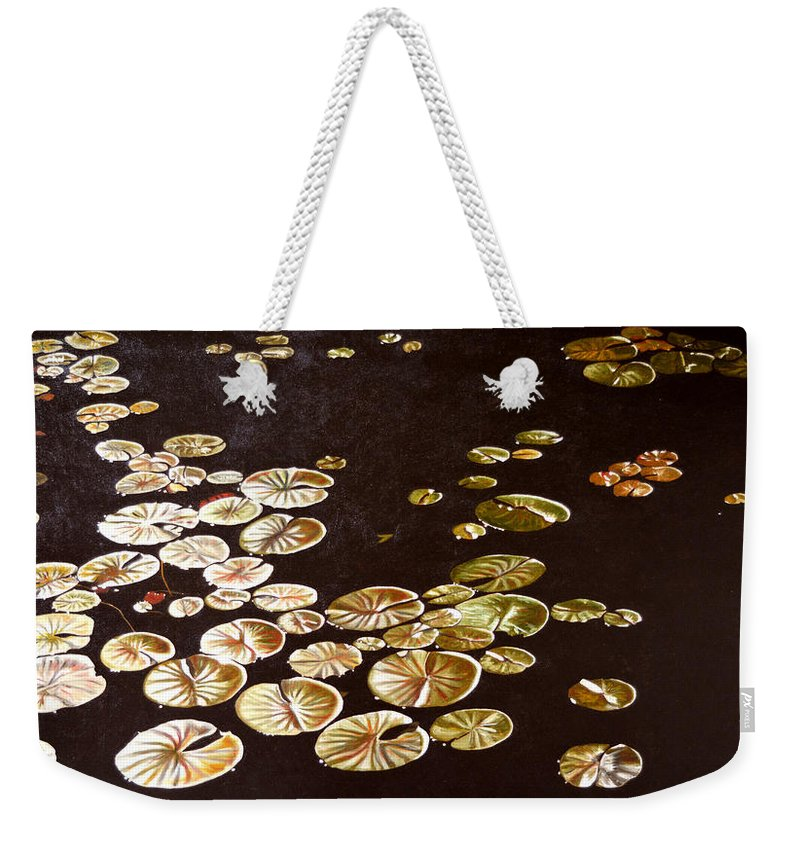 Lily Pad Weekender Tote Bag featuring the painting Lake Washington Lily Pad 10 by Thu Nguyen