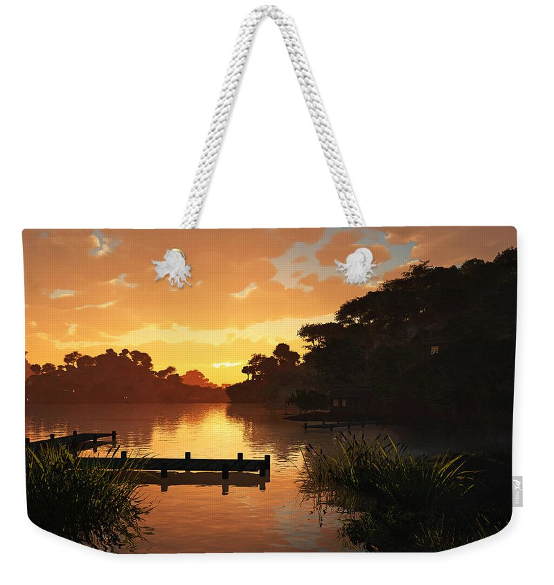 Sunset Weekender Tote Bag featuring the digital art Lakeside by Cynthia Decker