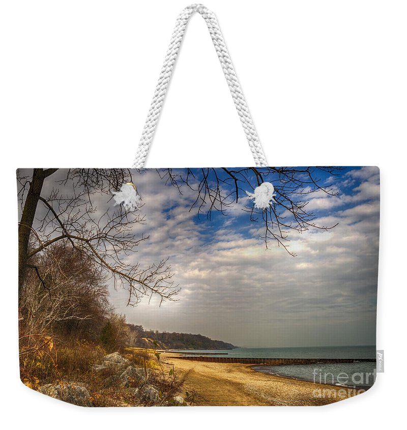 Water Weekender Tote Bag featuring the photograph Lakeside by Margie Hurwich