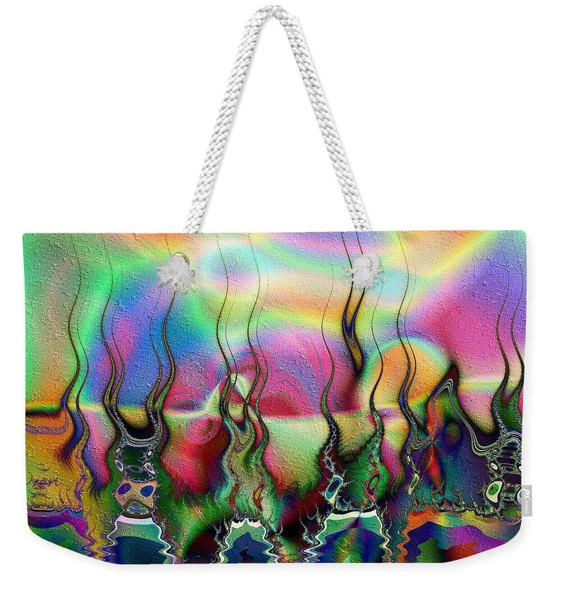 Lakeside Weekender Tote Bag featuring the digital art Lakeside Somewhere by Kiki Art