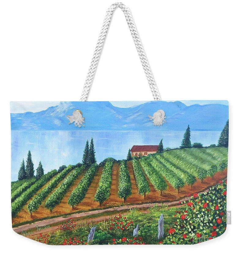 Lakeside Vineyard Weekender Tote Bag featuring the painting Lakeside Vineyard by Alicia Fowler