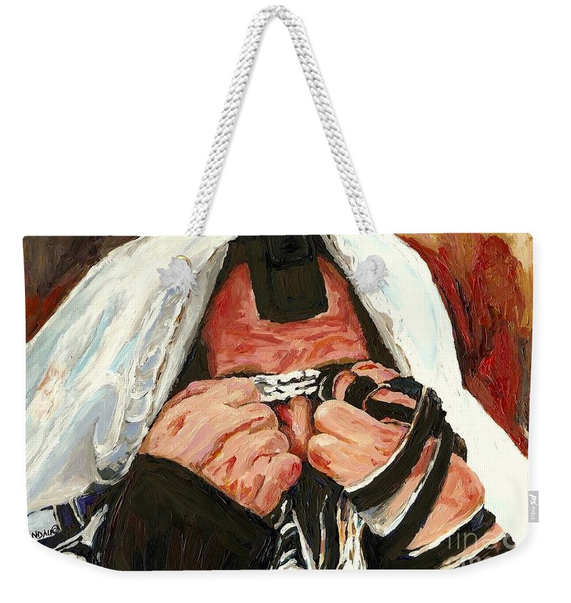 Montreal Religious Portraits Weekender Tote Bag featuring the painting Lamentations by Carole Spandau