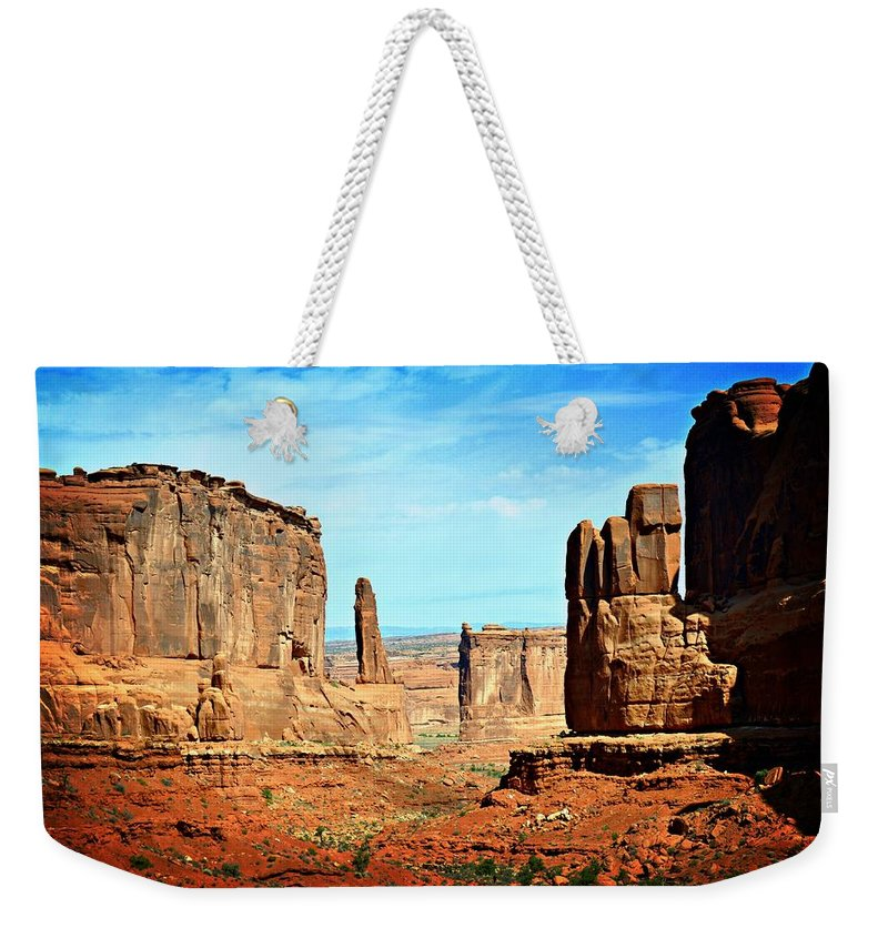 Moab Weekender Tote Bag featuring the photograph Land Of The Giants by Marty Koch