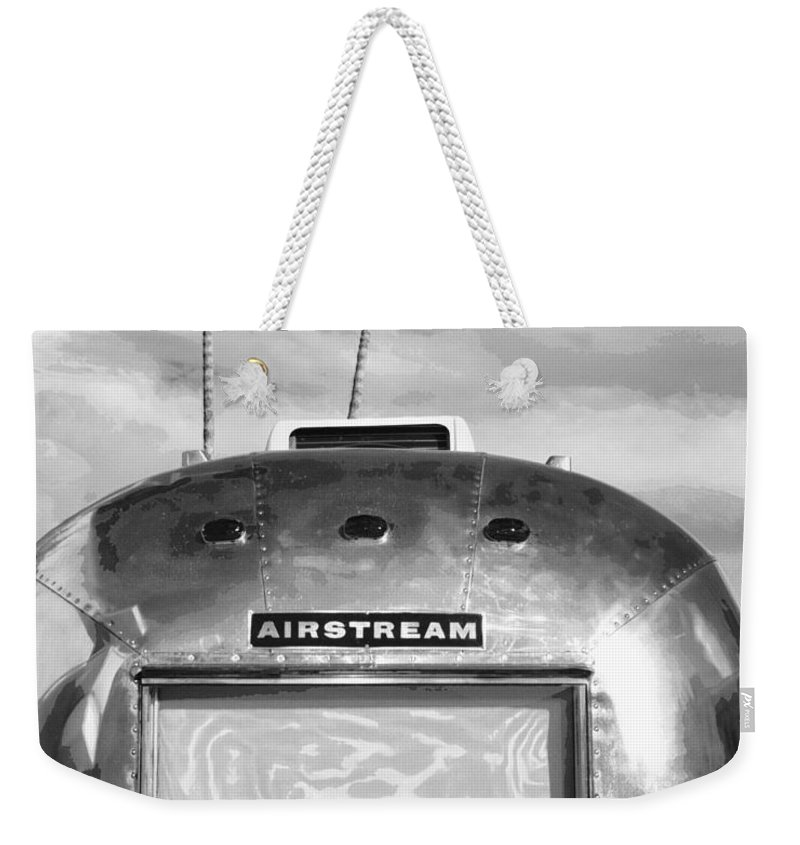 Airstream Weekender Tote Bag featuring the photograph Land Yacht Bw Palm Springs by William Dey