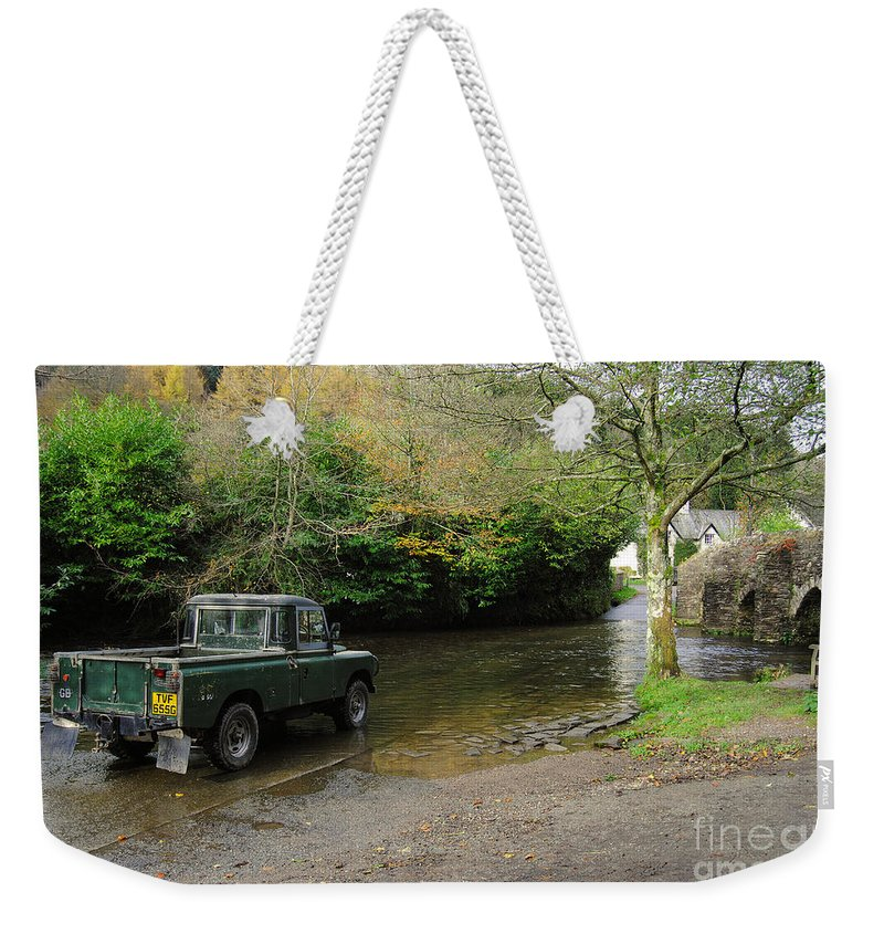Exmoor Weekender Tote Bag featuring the photograph Landrover And The Ford by Rob Hawkins