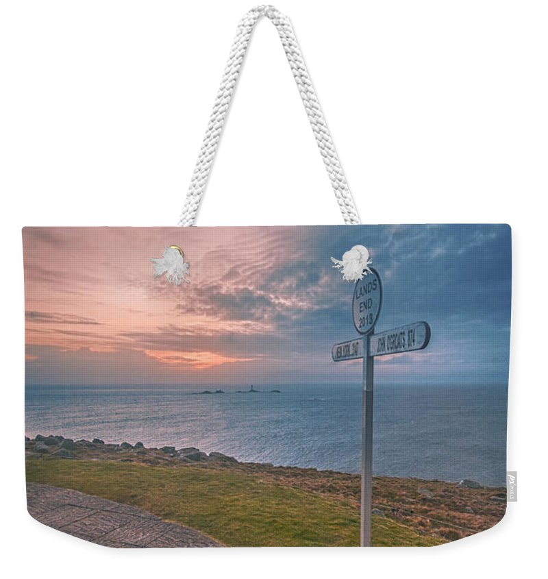 Lands End Weekender Tote Bag featuring the photograph Lands End Cornwall by Chris Thaxter