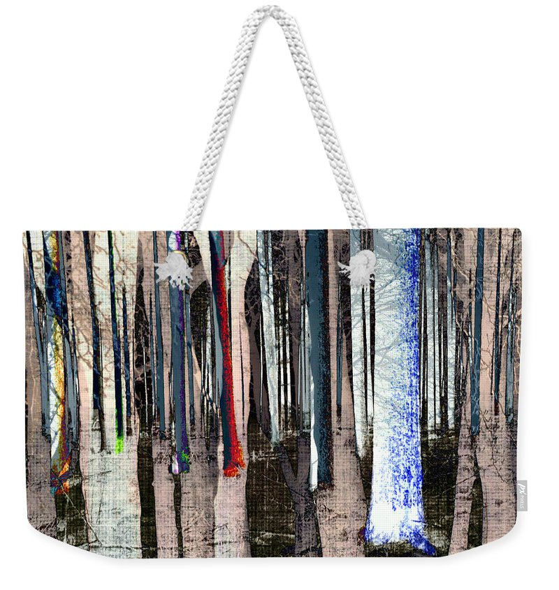 Digital-art Weekender Tote Bag featuring the digital art Landscape Forest Trees by Mary Clanahan