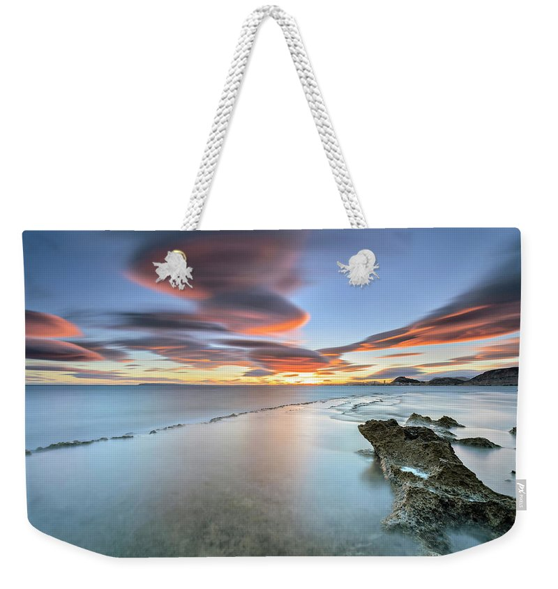 Tranquility Weekender Tote Bag featuring the photograph Landscape In The Sea With Clouds by Photographer Of The World