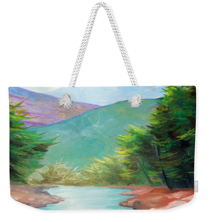 Bayou Weekender Tote Bag featuring the painting Landscape With A Creek by Sergey Bezhinets