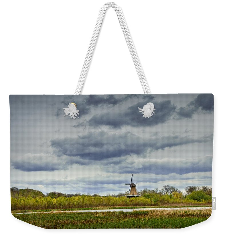 Art Weekender Tote Bag featuring the photograph Landscape With The Dezwaan Dutch Windmill On Windmill Island In Holland Michigan by Randall Nyhof
