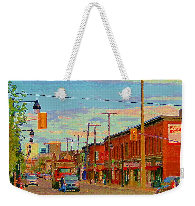 Ottawa Weekender Tote Bag featuring the painting Landsdowne Condos 5th Avenue The Glebe Ottawa Street Scene Paintings Carole Spandau Canadian Art by Carole Spandau