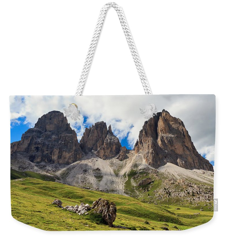 Alpine Weekender Tote Bag featuring the photograph Langkofel - Sassolungo Mountain by Antonio Scarpi
