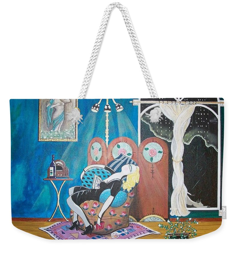 John Lyes Weekender Tote Bag featuring the painting Languid Lady In A Chair Brooding Over Poetry by John Lyes