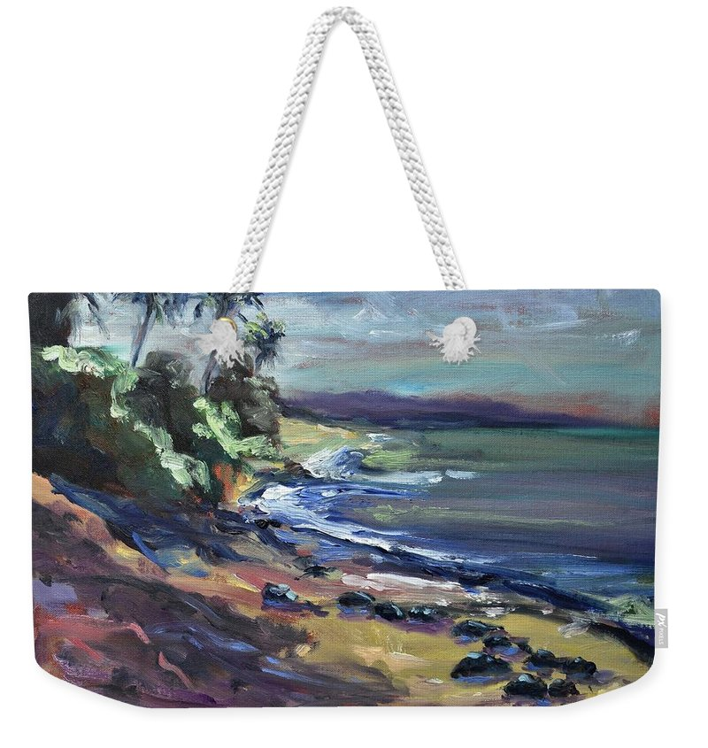 Laniakea Weekender Tote Bag featuring the painting Laniakea by Donna Tuten