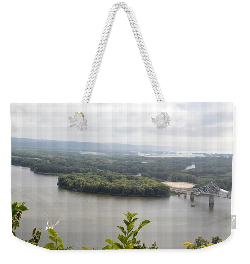 Mississippi Weekender Tote Bag featuring the photograph Lansing Bridge Panoramic by Bonfire Photography