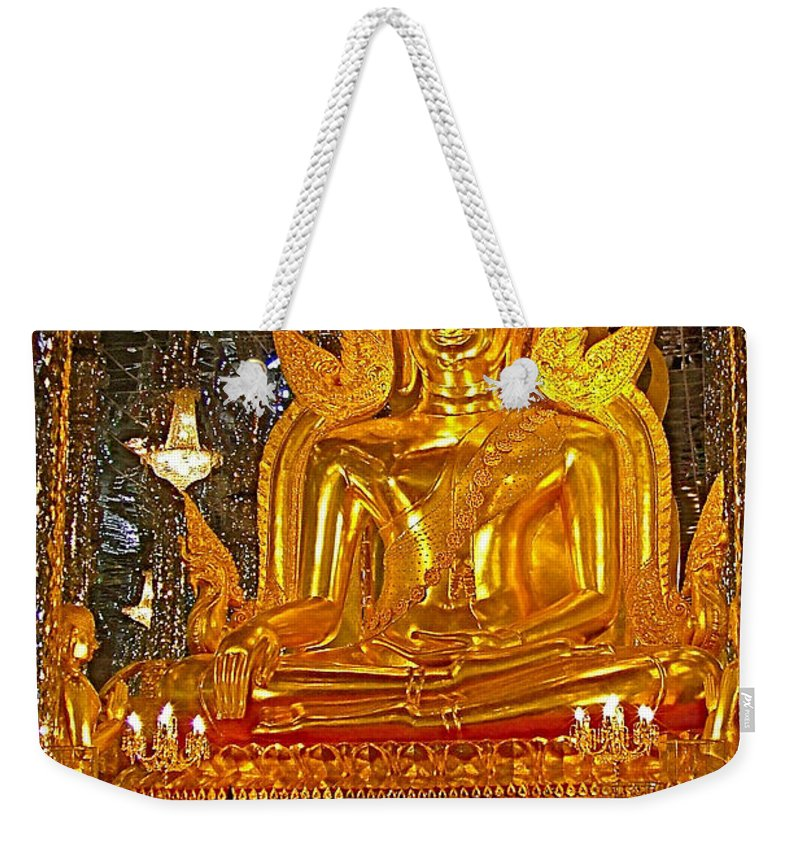 Large Buddha Image In Wat Tha Sung Temple In Uthaithani Weekender Tote Bag featuring the photograph Large Buddha Image In Wat Tha Sung Temple In Uthaithani-thailand by Ruth Hager